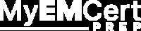 MyEMCert Prep logo, white