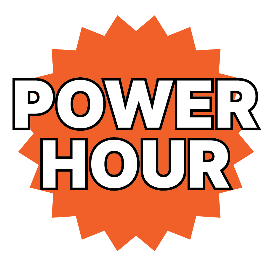 """Bright orange 20-sided star with white text """"POWER HOUR"""" on top."""